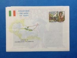1992 ITALIA AEROGRAMMA POSTALE NUOVO NEW MNH** COLOMBO PRIMO VIAGGIO CELEBRAZIONI COLOMBIANE GENOVA 850 LIRE - 6. 1946-.. Repubblica