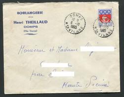 87 Haute-Vienne Enveloppe Cachet Perlé Domps Boulangerie Theillaud - 1921-1960: Moderne