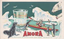 """BUVARD AMORA Moutarde De Dijon Dans Son Verre """"Givre Et Or""""esquimau-pinguoins - Alimentare"""