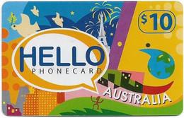 Australia - Tel.Pacific - Hello Australia (Blue Horizontal Reverse), Remote Mem. 10$, Used - Australia