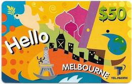 Australia - Tel.Pacific - Hello Melbourne (Purple Reverse), Remote Mem. 50$, Used - Australia