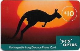 Australia - Optus - Kangaroo On Sunset Free, GSM Refill 10$, Used - Australia