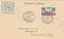 Suisse PRO AERO 1938 Vol Extraordinaire LA CHAUX DE FONDS à ST GALLEN - Posta Aerea