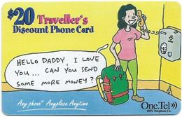 Australia - OneTel - Hello Daddy (Green Reverse), Exp.01.12.1999, Remote Mem. 20$, Used - Australia