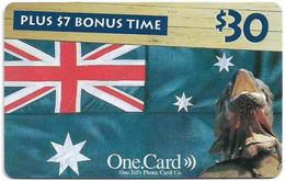 Australia - OneTel - Iguana & Flag, Exp.01.12.2000, Remote Mem. 30$, Used - Australia
