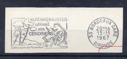 Flamme Illustrée: (33) BORDEAUX GARE. – 13/11/1967 (Flamme Sur Fragment) - Sellados Mecánicos (Publicitario)