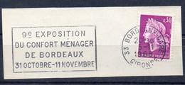 Flamme Illustrée: (33) BORDEAUX GARE – 5/01/1968 (Flamme Sur Fragment) - Sellados Mecánicos (Publicitario)