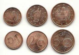 San Marino, 2004, 1, 2 Und 5 Cent, Bankfrisch Aus Der Rolle - San Marino