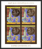 86001 N°622 B Moscou Jeux Olympiques Olympic Games 1980 Centrafricaine OR Gold ** MNH Bloc 4 Non Dentelé Imperf - Summer 1980: Moscow