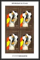 85899/ N°942 B DINO ZOFF Espana 1982 Football Coupe Monde Tchad OR Gold Stamps ** MNH Bloc 4 Non Dentelé Imperf - 1982 – Espagne