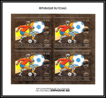 85869/ N°897 B Football Soccer Coupe Monde ESPANA 1982 Tchad OR Gold Stamps ** MNH BLOC 4 Non Dentelé Imperf - 1982 – Espagne