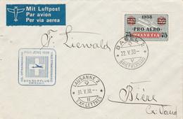 Suisse PRO AERO 1938 Vol Extraordinaire BASEL à LAUSANNE - Posta Aerea