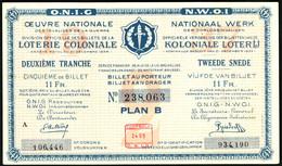 """BELGIEN Belgie Belgique """" Loterie Coloniale / Koloniale Loterij """" 2.snede/tranche 1934-36 E - Lottery Tickets"""