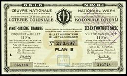 """BELGIEN Belgie Belgique """" Loterie Coloniale / Koloniale Loterij """" 26. Snede/tranche 1934-36 E - Lottery Tickets"""