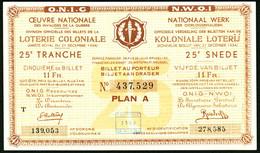 """BELGIEN Belgie Belgique """" Loterie Coloniale / Koloniale Loterij """" 25. Snede/tranche 1934-36 E - Lottery Tickets"""