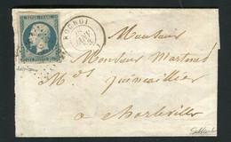 Rare Lettre De Rocroi Pour Charleville ( 1853 ) Avec Un N° 10 - 25 Centimes Présidence - 1852 Louis-Napoléon