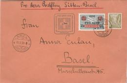 Suisse PRO AERO 1938 Vol Extraordinaire SION à  BASEL + Complément Affranchissement - Posta Aerea