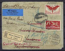 SUISSE 1925:  LSC Rec. De Zürich Pour Londres Via Bâle Et Paris Avec Les ZNr.F3,F11 Et Très Nombreux CAD Et Marques - Posta Aerea