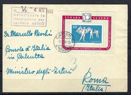 SUISSE 1951:  LSC De Zürich Pour Rome Avec Le Bloc ZNr.W32, Obl. CAD - Posta Aerea