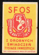 POLAND POST WW2 SFOS SOCIAL FUND FOR REBUILDING WARSAW DESTROYED BY NAZI GERMANY MATCHBOX LABEL MERMAID WARSZAWA - Zündholzschachteletiketten
