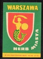 POLAND MERMAID COAT OF ARMS POLISH CAPITAL CITY WARSAW WARSZAWA MATCHBOX LABEL MERMAIDS CREST EMBLEMS MYTHICAL CREATURES - Zündholzschachteletiketten