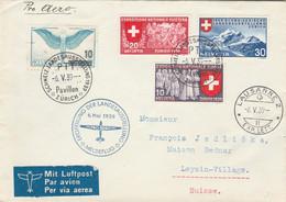 Suisse Yvert 320 + 324 + 328 + PA 24 ZÜRICH Meldflug 6/5/1939 Eroffnung Der Landesausstellung à Leysin - Posta Aerea