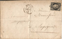 LETTRE   D '  ARRAS  ( 62 )   /  Envoi En 1849  à  SAPIGNIES  ( 62 )   Cérès 20c  Noir  Grille - 1849-1876: Periodo Classico