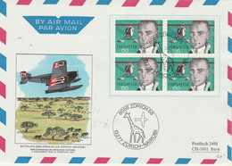 Suisse Yvert 1020 Bloc De 4 Lettre Zürich Nairobi 13/2/1977 1 Er Vol - Girafe Avion - Svizzera
