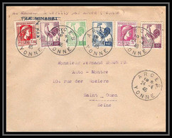 4792/ France Lettre (cover) Coq + Marianne D'alger Affranchissement Composé Mixte Arcès Yonne 1946 - 1921-1960: Modern Period