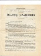 SAONE ET LOIRE ELECTIONS SENATORIALES 11 JANVIER 1920 DOCUMENT PAR FELIX MARTIN JEAN RICHARD SENATEURS SORTANTS - Documentos Históricos
