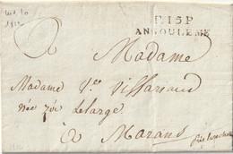 1812 - LAC De NONTRON Cachet ANGOULEME PORT PAYE  38 X 9.5 Pour MARANS - 1801-1848: Vorläufer XIX