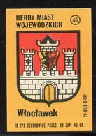 POLAND COAT ARMS OF POLISH VOIVODESHIP CITIES WLOCLAWEK MATCHBOX LABEL CREST EMBLEMS CASTLE LION EAGLE - Zündholzschachteletiketten