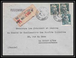 9725 N°713 X3 Gandon La Rochelle Charente La Roche Sur Yon Vendee 1945 France Lettre Recommande Cover - 1921-1960: Modern Period
