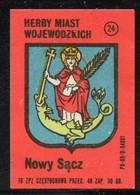 POLAND COAT ARMS OF POLISH VOIVODESHIP CITIES NOWY SACZ MATCHBOX LABEL CREST ST MARGARET THE VIRGIN SWALLOWED BY DRAGON - Zündholzschachteletiketten
