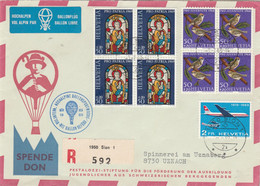 Suisse Yvert PA 46 + 827 X 4 + 837 X4 Lettre Recommandée SION 1969 Vol Alpin Par Ballon Libre - Oiseaux Avion - Posta Aerea