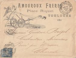 1896 - Enveloppe PUB AMOUROUX FRERES Cachet Gare De TOULOUSE Pour TUSSON Cachet Arrivée Au Dos Voir Scan - 1849-1876: Klassik