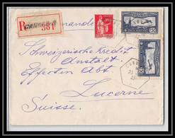 41893 Cannes Recommandé Pour Luzern Suisse (Swiss) 1933  Type D4 France Aviation PA N° 5 Poste Aérienne Airmail Lettre - 1927-1959 Lettres & Documents