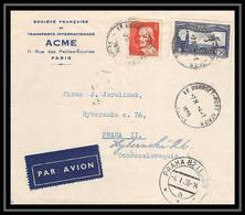41938 Le Bourget P Praha Tchécoslovaquie (Czechoslovakia) 1936 Aviation PA N°6 + 306 Poste Aérienne Airmail Lettre Cover - 1927-1959 Lettres & Documents