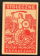 POLAND RARE POST WW2 WARSAW MERMAID FOR REBUILDING WARSZAWA IN RUINS DESTROYED BY NAZI GERMANY MATCHBOX LABEL MERMAIDS - Zündholzschachteletiketten