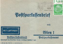 Postsparkassenbrief,  Postal Savings Letter, Sent 09/18/39 From Munchen To Vienna - Deutschland