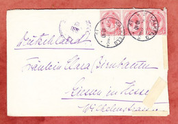 Brief, Koenig Georg Im 3er-Streifen, Per Bahnpost -Windhoek, Kalkfeld Ueber Omaruru Nach Giessen 1919 (97715) - Storia Postale