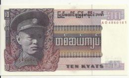MYANMAR 10 KYATS ND1973 UNC P 58 - Myanmar
