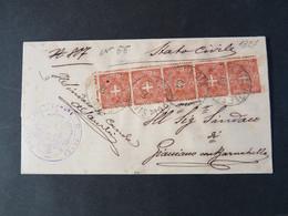 """1827 ITALIA Regno-1896-97- """"Stemma"""" C. 2 Striscia Di 5 FRATTA POLESINE>GIACCIANO Con BARUCHELLA (descrizione) - Storia Postale"""