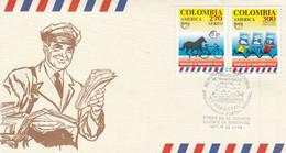 VEHICULOS DE TRANSPORTE POSTAL, CARTERO. COLOMBIA 1994 FDC ENVELOPPE. TRANSPORT POSTAL TRANSPORTATION -LILHU - Philately & Coins