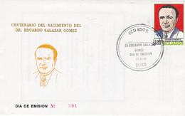 CENTENARIO DEL NACIMIENTO DEL DR. EDUARDO SALAZAR GOMEZ. ECUADOR FDC AÑO 1996 ENVELOPPE. -LILHU - Health