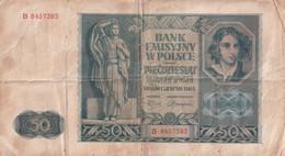 POLOGNE - 50 Zlotych - Krakow 1941 R. Série B  - - Polonia