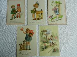 Lot 5 CPA  FILLETTE Avec CHIEN   Illustrateur - Kinder-Zeichnungen