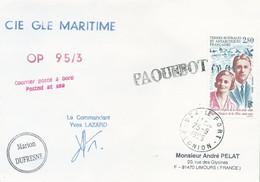 """Lettre """"Marion Dufresne"""" Avec Timbre TAAF N°198 De La Rüe - Cachet Manuel De 974 Le Port Du 25/09/1995 - Barcos Polares Y Rompehielos"""
