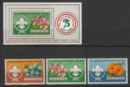 PENRHYN - Scoutisme, Orchidées - Bloc Feuillet 45 - Timbres Y&T N° 302-304 - 1983 - Penrhyn