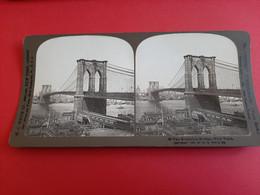 PHOTO STEREOSCOPIQUE SUR CARTON . H .C WHITE CO / PONT DE BROOKLYN, NEW - YORK, ETATS - UNIS - Fotos Estereoscópicas